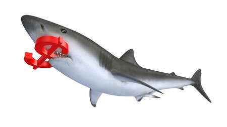 tax attorney: shark biting a dollar currency sign, 3d illustration