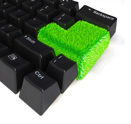 environment friendly: computer keyboard with enter button in green grass, 3d illustration Stock Photo