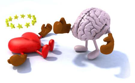Brain vechten hart, 3d cartoon met bokshandschoenen Stockfoto