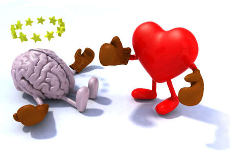 Heart fighting brain, 3d cartoon with boxing gloves Archivio Fotografico