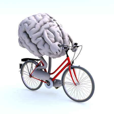 human brain with arms and legs riding a bicycle, 3d illustration Banque d'images