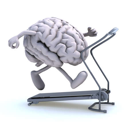 workout gym: human brain with arms and legs on a running machine, 3d illustration