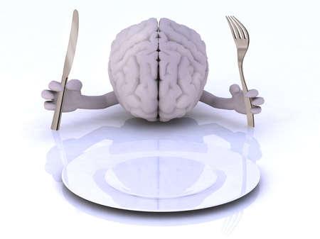 빈 접시의 앞에 손과기구와 뇌
