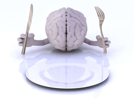 the brain with hands and utensils in front of an empty plate Imagens
