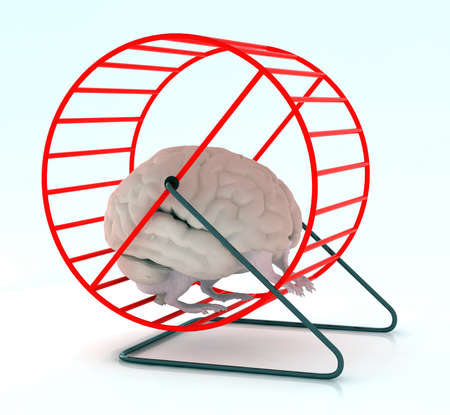 햄스터 바퀴에 팔과 다리 인간의 두뇌 3D 그림