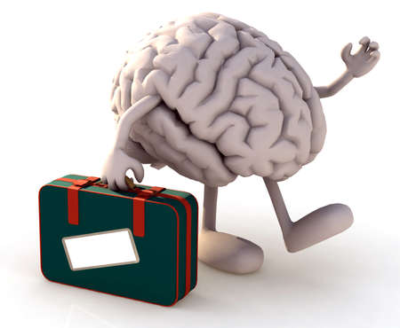 depart: brain with arms and legs that take a suitcase, 3d illustration Stock Photo