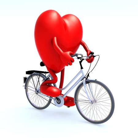 hart met armen en benen op een fiets, 3d illustratie