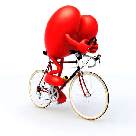 heart with arms and legs riding a bicycle, 3d illustration
