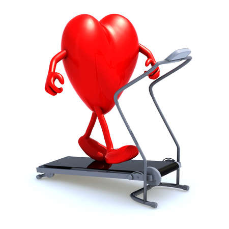 heart with arms and legs on a running machine, 3d illustration Stock Illustration - 16926658