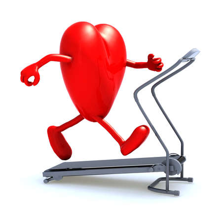 heart with arms and legs on a running machine, 3d illustration