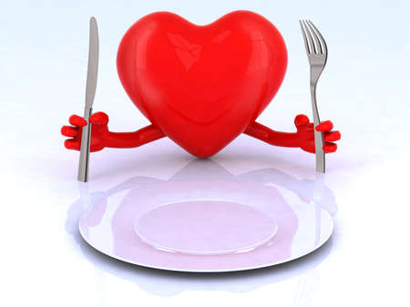 maniac: red heart with hands and utensils in front of an empty plate