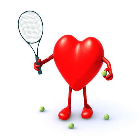 hartje cartoon: hart met armen en benen die tennisspel spelen, 3D-afbeelding