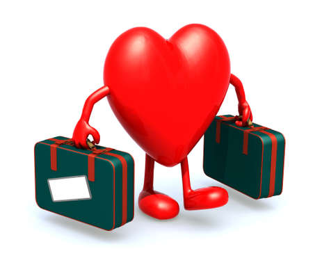 cruise cartoon: heart with arms and legs that take a suitcase, 3d illustration Stock Photo
