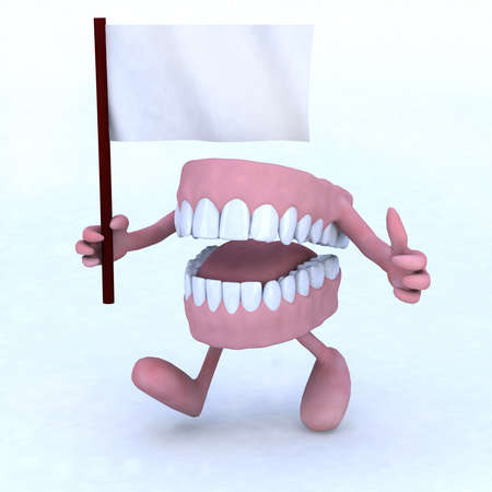 carious: dentures with arms and legs carrying a white flag, concept of dental care