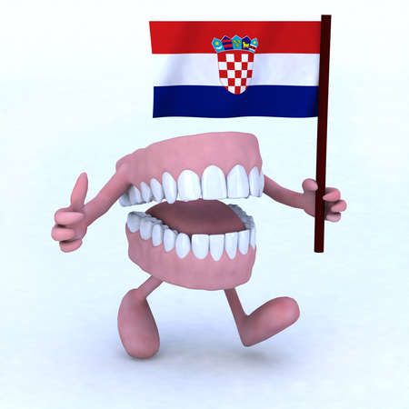dentures with arms and legs carrying a flag of croatia, concept of dental care in croatia photo