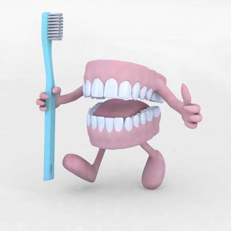 dentier: dessin animé prothèse ouvert les bras, les jambes et tootbrush, illustration 3d Banque d'images