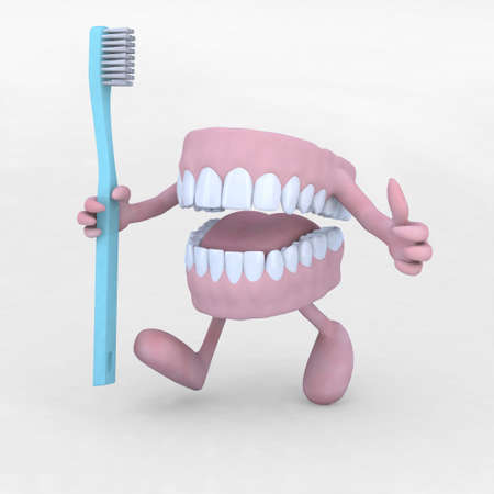 open denture cartoon with arms, legs and tootbrush, 3d illustration Archivio Fotografico