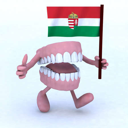 kid doctor: dentures with arms and legs carrying a hungarian flag, concept of dental care in hungary Stock Photo