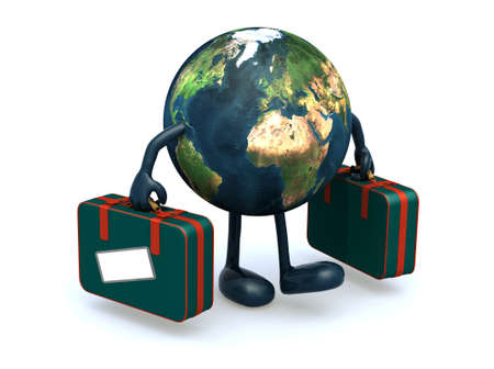 safe world: earth with arms and legs that take a suitcase, 3d illustration