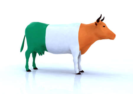 irish banners: irish cow 3d illustration