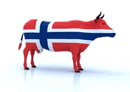 ferment: Norwegian cow 3d illustration Stock Photo