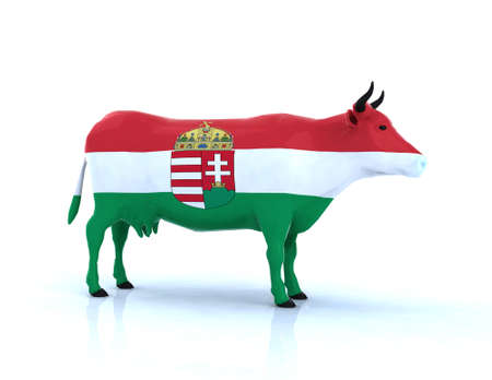 hungarian: hungarian cow 3d illustration Stock Photo