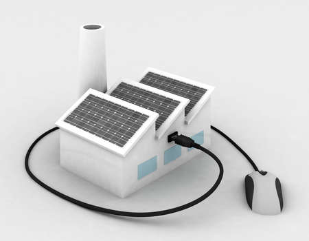 alternative energy source: factory with solar panels and usb mouse, 3d illustration