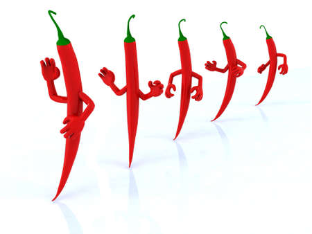 five red chilli peppers with arms, 3d illustration