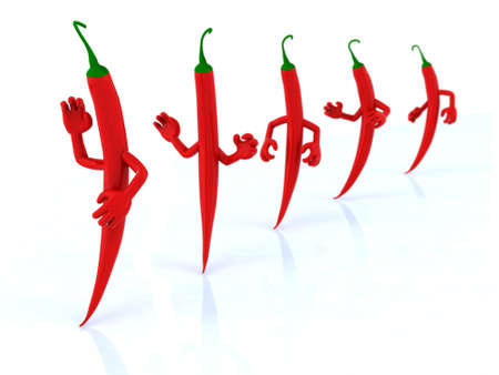 five red chilli peppers with arms, 3d illustration illustration