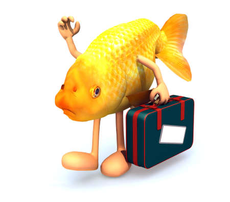red fish with arms and legs that take a suitcase, 3d illustration illustration