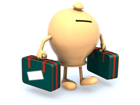money box with arms and legs that take a suitcase, 3d illustration Stock Illustration - 16926634