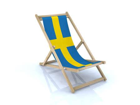 wood beach chair with swedish flag 3d illustration Stock Illustration - 16926609