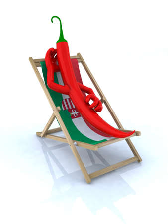 flag mexico: paprika resting on a beach chair, concept hungarian ingredient, 3d illustration