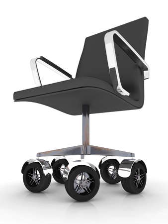 speedy: office chair with wheels racing, 3d illustration