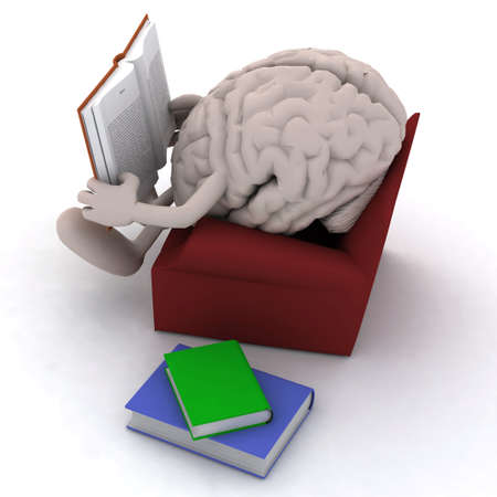 human brain organ reading a book from the couch, 3d illustration illustration