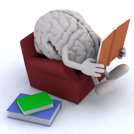 human brain organ reading a book from the couch, 3d illustration