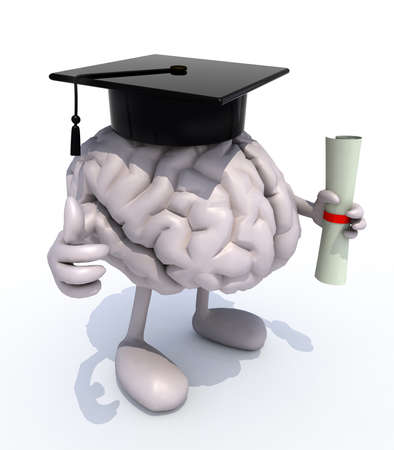 human brain with arms and legs, Graduation Cap and Diploma, 3d illustration