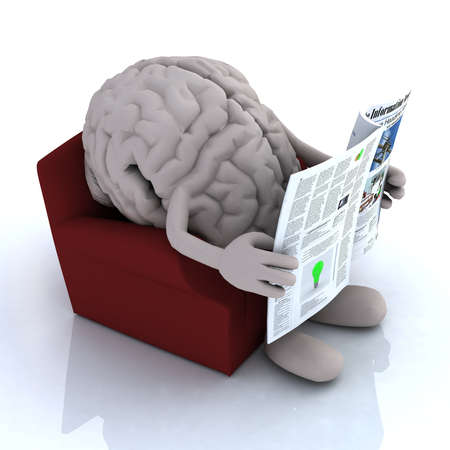 reading news: human brain reading a newspaper from the couch, 3d illustration Stock Photo