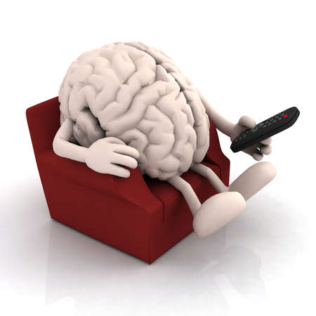 funny movies: human brain watching television from the couch with remote control on white background, 3d illustration Stock Photo