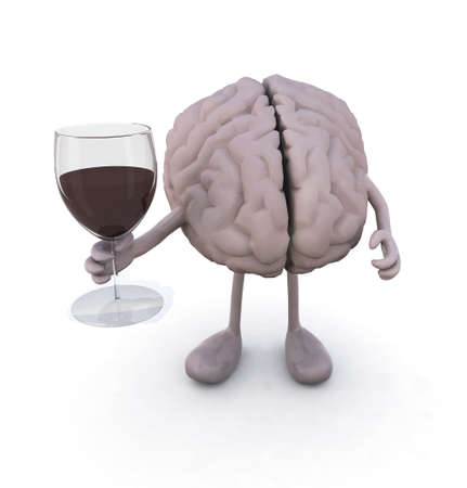 conscious: brain with arms and legs and glass of red wine, 3d illustration