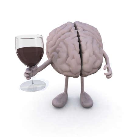 hersenen met armen en benen en glas rode wijn, 3d illustratie Stockfoto