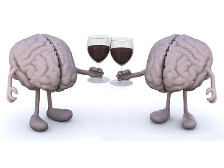 two human brain with arms and legs make cheers with glasses of red wine