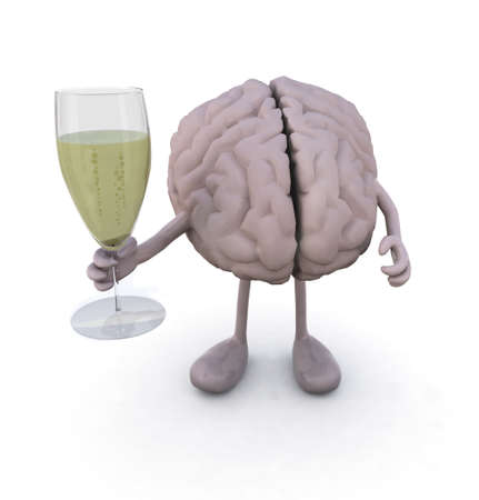 brain with arms and legs and glass of white wine, 3d illustration illustration