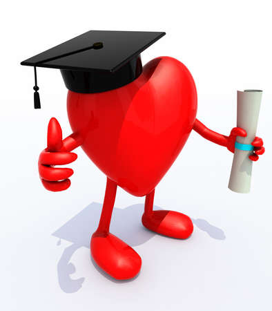 heart with arms and legs, Graduation Cap and Diploma, 3d illustration illustration