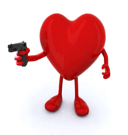 heart with arms and legs and gun, 3d illustration illustration