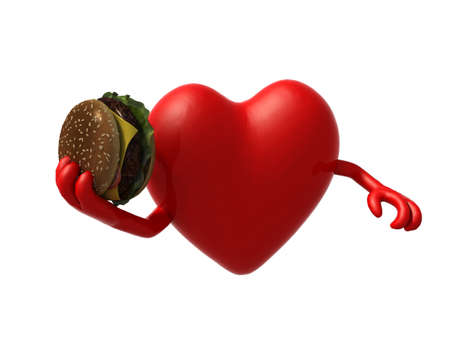 food to eat: heart with arms and a hamburger on hand, 3d illustration