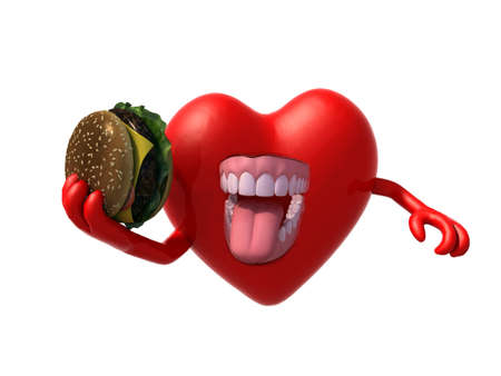 heart with arms, open mouth and a hamburger on hand, 3d illustration illustration