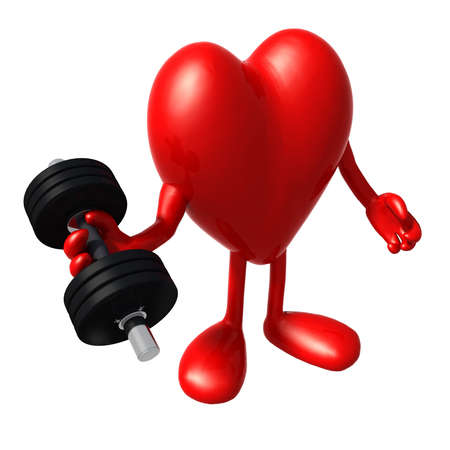 workout gym: heart with arms and legs does weight training, 3d illustration