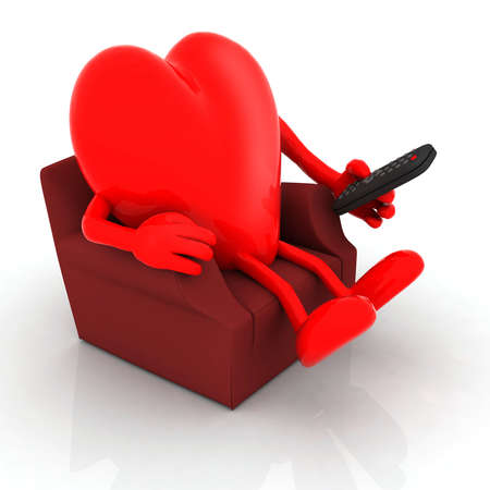 big red heart watching television from the couch with remote control on white background, 3d illustration illustration