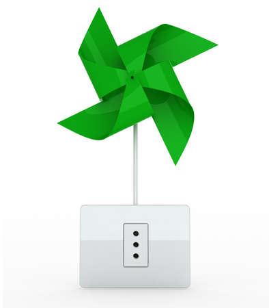 green pinwheel over energy plug on white background, 3d illustration illustration